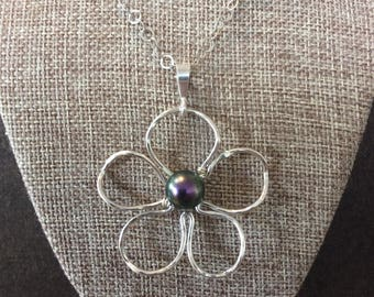 Plumeria necklace sterling silver
