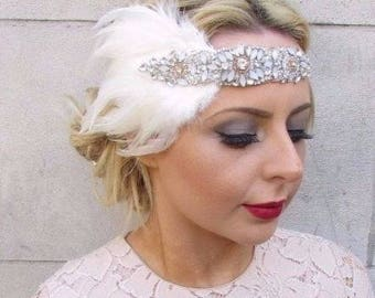 Ivory White Opal Champagne Silver Feather Headpiece 1920s Headband Flapper 4254