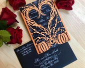 Pumpkin Heart wedding invitation gatefold laser cut autumn fall halloween party
