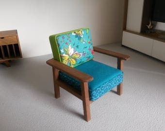 Modern Miniature Dollhouse Chair Mismatched Fabric 1:12 Scale