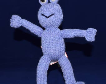 Hand knitted, blue frog. Roughly 22cm tall