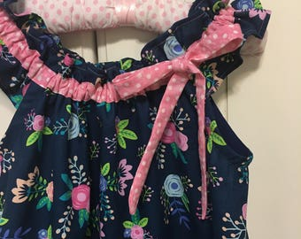 Girl's Dress or Romper Navy with  Pink Trim Flutter Sleeve sizes 6 mos -4