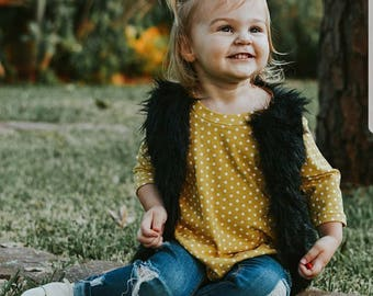 Design your own black faux fur vest, baby fur vest, child fur vest, child fur vest, black fur vest, furry vest, black fur vest