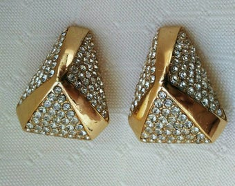 Ciner pave Earrings, Crystal Pave Rhinestone goldtone designer Couture Earrings 1950s earrings 1960s earrings chunky Crystal clip on