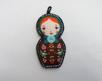 keychain or bag matryoshka blue flower charm