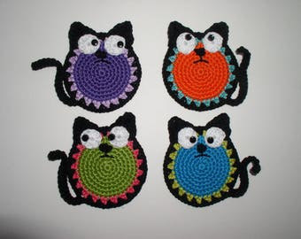 Set of four crocheted cat coasters