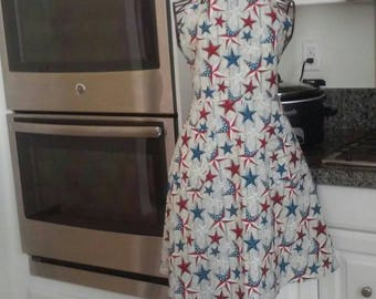 Women's red, white and blue star apron
