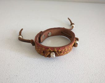Leather cuff eco boho skinny tooled leather tladjustable silver beads Small/Medium tan brown cord