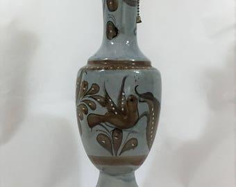 Pottery Mexico Tonala Lamp Hand Painted Hand Made Signed Mexico Tonala, Paloma, Mexican Art, Dove Theme