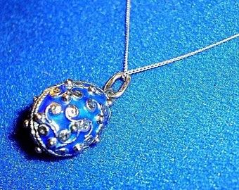 "Russian Sterling Silver Beaded Royal Blue Purple Enamel Faberge Egg Pendant 19"""