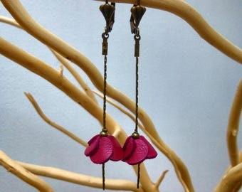 Leather flower dangle earrings raspberry