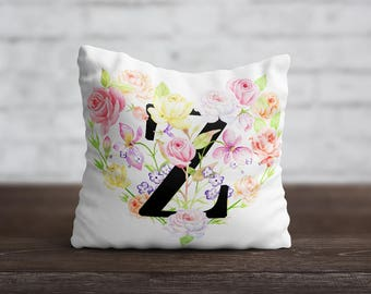 Monogram PillowCase Personalized Throw Pillow Cover Flower Pillow Custom Pillow Silk Pillow Case Floral Cushion Satin Pillow Letters Words