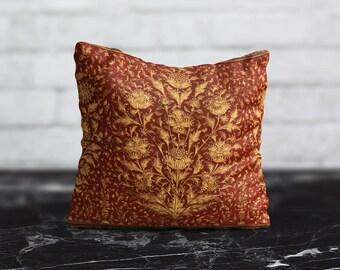 Style Red PillowCase Gold Flower Throw Pillow Cover Accent Pillow Decorative Silk Pillow Cover Cushion Satin Pillow Toss Modern Home Decor