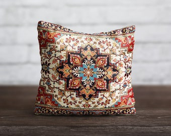 Persian Carpet Pillow Morocco PillowCase Red Rug Cushion Cover Persian Rug Pillow Satin Throw Pillow Cover Living Room Luxury Home Decor