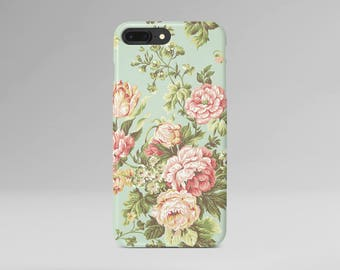 Floral iPhone 8 Case Pink Flower iPhone X Case Green Phone Cover iPhone 7 Plus iPhone 6 Case iPhone 7 iPhone SE Case iPhone 5 Galaxy S8 Case