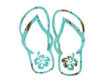 Flip Flops Teal Camo decal