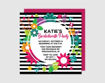 Bachelorette Party Invitation - Bright Floral and Stripes