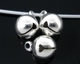 50 Silver Colour Jingle Bells Charms (139)