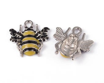 Wasp Bee Enamel Silver Plated Charms Pendants 17mm x 18mm (020)