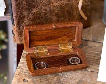 Pocket Size Wooden Wedding Ring Box, Rustic Natural Design, Keepsake Gift