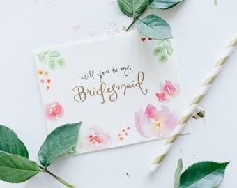 5 Bridesmaid Cards + 1 MOH card