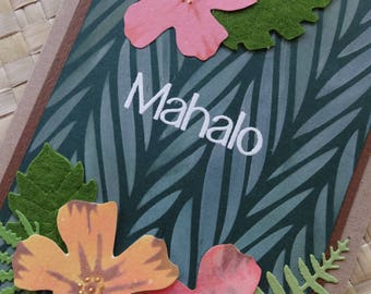 Hawaiian mahalo (thank you) card with hibiscus and foliage
