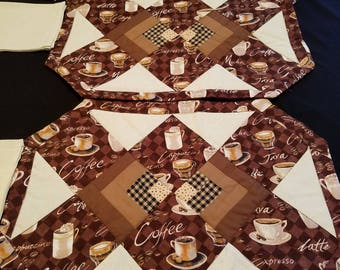 Set of 6 Quilted Coffee and Napkin Placemats