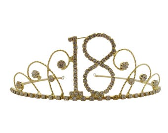 18th Birthday Diamante Crystal Tiara - Gold Plated Finish - 18th Birthday Gift Idea
