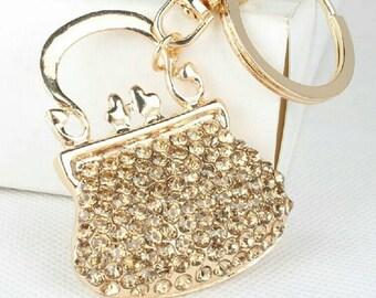 New purse  keychain handbag  keychain keyring rhinestones crystal keychain bling bling purse charm Handbag jewelry free shipping purse fob