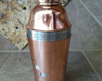 "Very Nice Dial-A-Drink Copper and Stainless Steel Cocktail Shaker by OGGI, Excellent Condition, 4 Piece Set, Measures 10"" Tall, Great Find"