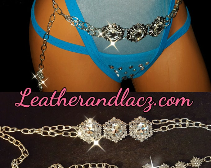 """Striking Belly Chain with Rhinestones 3 Large Crystals and 3 Silver Diamond Rhinestone Charms adjustable 30"""" to 37"""" Exoticwear Body jewelry"""