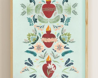 "Holy Family Hearts 8""x 10"" Print (Sacred Heart of Jesus, Immaculate Heart of Mary, Holy Heart of Joseph)"