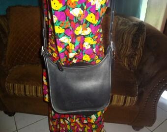 Black Leather Coach Janice Legacy Cross Body Shoulder Bag