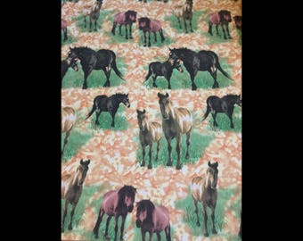 5 yards of horse print cotton fabric