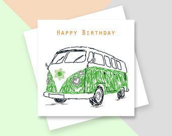 Camper van Happy Birthday greetings card