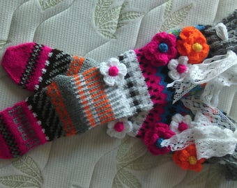 Over the Knee Socks, Knee High Socks, Knit Knee Socks, Wool Socks with flowers, High Socks, Model: JODI