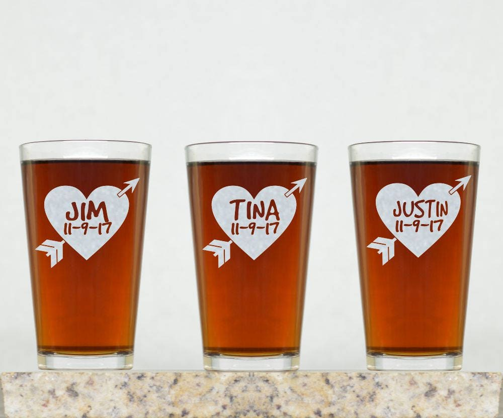 Customized Wedding Beer Glasses : Wedding Glass Personalized Wedding Pint Glass Wedding Gift