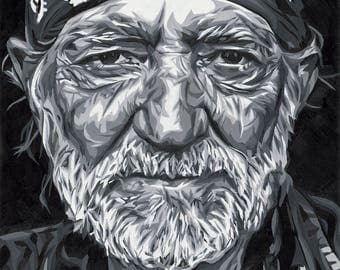 Willie Nelson Original Oil Painting High Quality Print 5x7