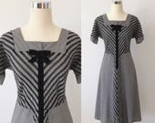 1950s Black Gingham Day Dress with Velvet Accents Size Large | 50s Fit and Flare Gingham Velvet Dress