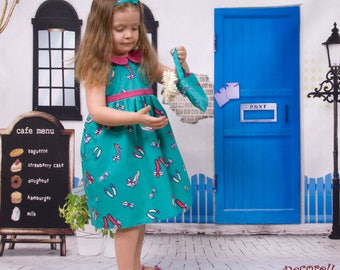 """Baby dress in turquoise cotton printed """"shoes and bows"""""""