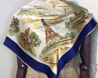 1950s Paris France Tourist Holiday Souvenir Scarf