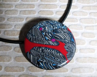 NEW necklace patterned black white and blue