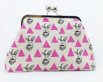 Handmade KisslockPurse, Kisslock Clutch, Clasp Purse, Metal Framed Purse- Japanese Echino Black Antalope Moustache/ Pink Triangles