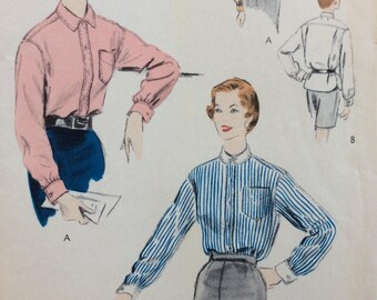 Vogue 8267 misses shirt size 14 bust 32 vintage 1950's sewing pattern  Uncut  Factory folds