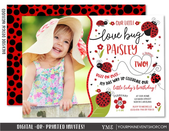 Ladybug Invitation, Ladybug Photo Birthday Invitation, Ladybug Party Invite, Lady Bug Love Bug Invitation, Spring Summer Birthday Printable