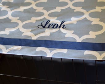 Crate Cover Quatrefoil #10 Cashmere Blue with Navy Name and Trim || Kennel Cover Personalize with Name || Custom Gift || Three Spoiled Dogs