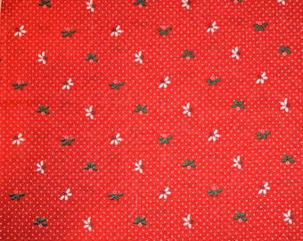 Red Christmas Fabric, Holly Leaf Christmas Fabric, Christmas Quilting Fabric, Vintage Christmas Fabric, Vintage Fabric, Holiday Fabric