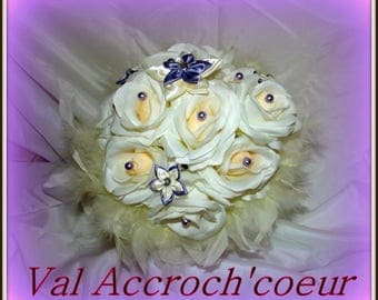 Love and passion purple and ivory bridal bouquets