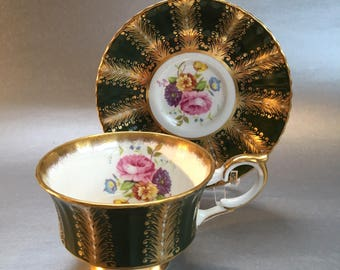 Vintage Paragon Heavy Gold Dark Green Bone China Tea Cup and Saucer England