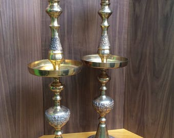 """1 Of 2 Vintage Large Brass Ornate Heavy Candle Holder Floor Pillar Candle 32"""""""